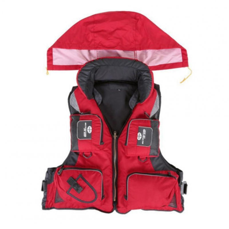 Adjustable Adult Safety Life Jacket Survival Vest for Swimming Boating Fishing  red_XL