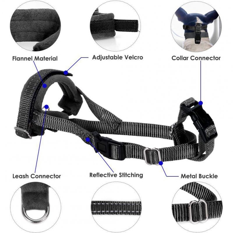 Adjustable Breathable Anti Bark Nylon Dog Mouth Cover for Outdoor Use black_M28-40cm
