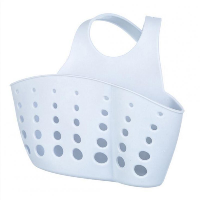 Adjustable Button Type Sink Storage Hanging Drain Basket for Kitchen Sponge Gray-blue