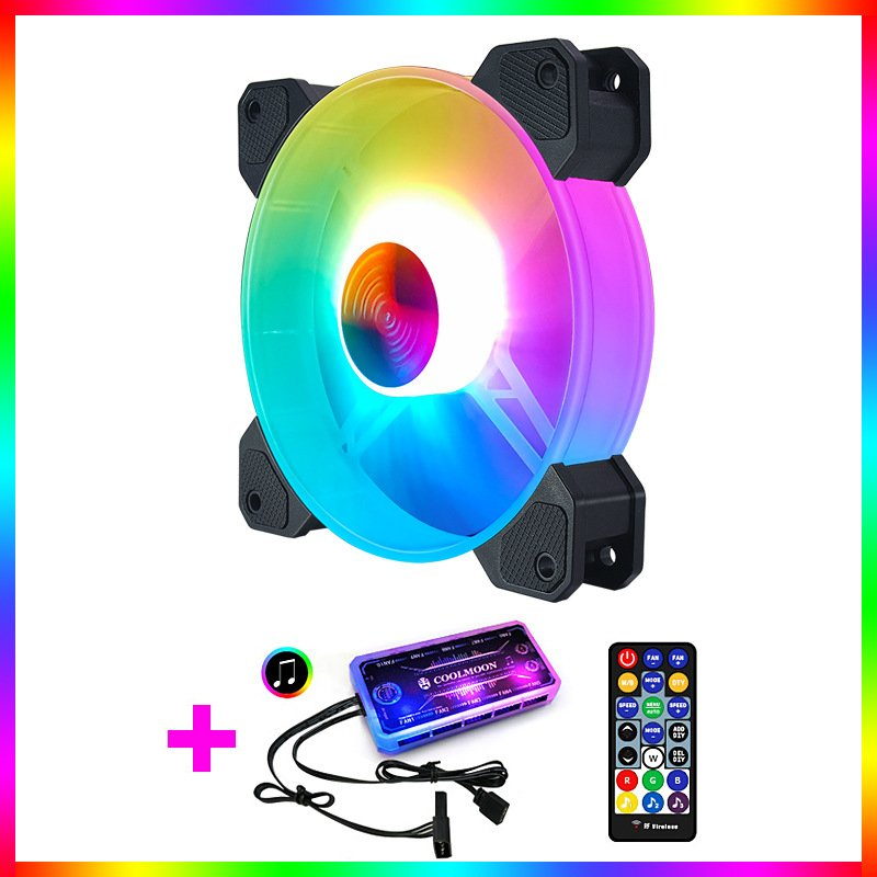 Adjustable Computer Cooling Fan Quiet 120mm RGB Fan PC Case Fan Cooler RGB Cooler Fans for Computer Cooler with Controller 1 fan + 1 standard controller
