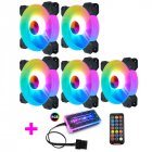 Adjustable Computer Cooling Fan Quiet 120mm RGB Fan PC Case Fan Cooler RGB Cooler Fans for Computer Cooler with Controller 5 fans + 1 standard controller