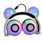 Adjustable Folding Cartoon Fancy Bear Shape Stereo Glow Music Bass Charging Ears Headset white