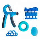 Adjustable Grip Device Set Grip Ball Five finger Training Device Finger Force Device Fitness blue