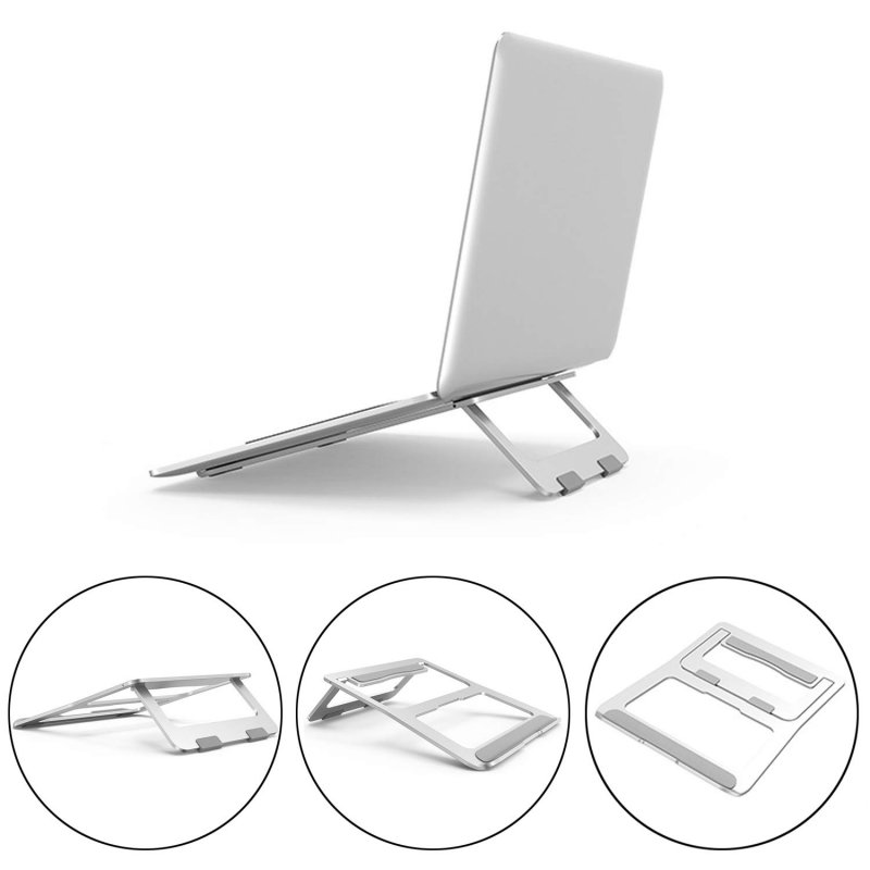 Adjustable Laptop Stand Foldable Lightweight Ventilated Laptop Riser Holder for Desk with Anti-Slip Design Portable Bracket Silver