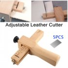 Adjustable Leather Strap Cutter Leathercraft Strip Belt DIY Hand Cutting Wooden Strip Cutter with 5 Blades Leather Tools Non-adjustable