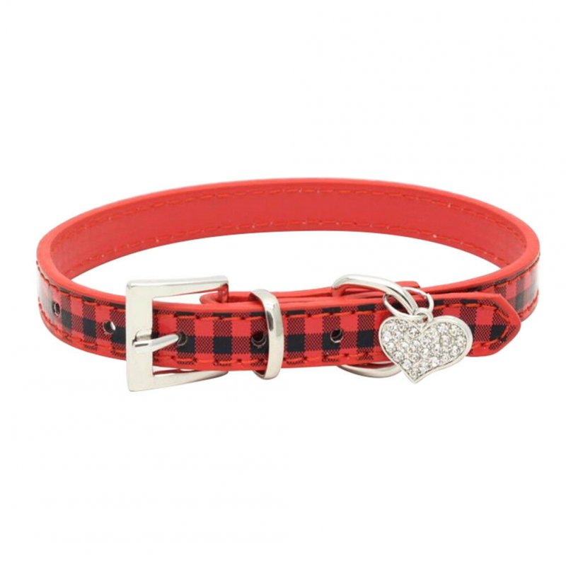 Adjustable Plaid Pattern PU Pet Collar with Heart Shape Pendant