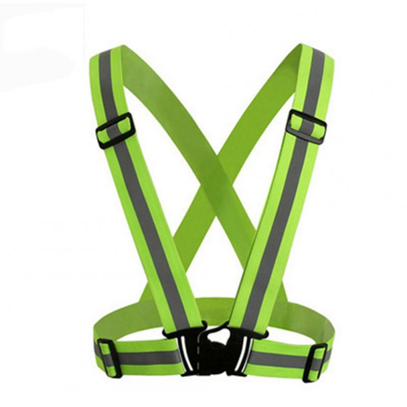 Adjustable V-shape Reflective Safety Vest Luminous Elastic Belt for Night Running Cycling Sports Outdoor Clothes Fluorescent green