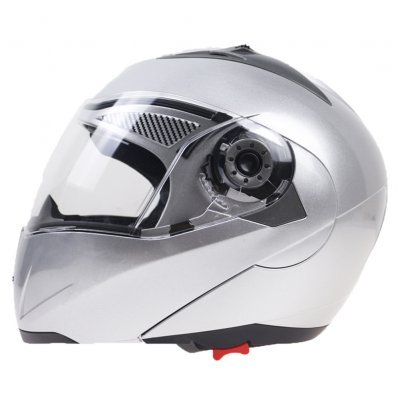 105 Full Face Helmet Electromobile Motorcycle Transparent Lens Protective Helmet Silver XXL
