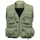 Adult Multi Pocket Fishing Vest Breathable Quick Dry Active Wear Jacket for Outdoor Sports XXXL Khaki  pea green_XXXL