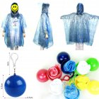 Adult Unisex Disposable Raincoat Ball Mini Portable Outdoor Activities Emergency Raincoat blue