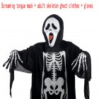 Adults Children Skeleton Ghost Costume for Masquerade Ball Halloween with Terrorist Mask Adult Skeleton Costume + Screaming Tongue + Cloth Gloves_free size