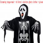 Adults Children Skeleton Ghost Costume for Masquerade Ball Halloween with Terrorist Mask