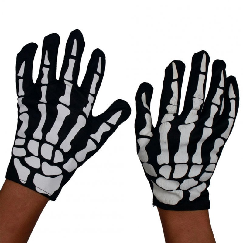 Adults Children Skeleton Ghost Costume for Masquerade Ball Halloween with Terrorist Mask Skeleton gloves_free size