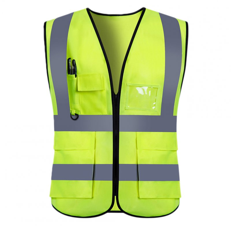 Adults High Visibility 5 Pockets Safety Reflective Zipper Vest Warning Waistcoat