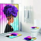 African Women Printing Toilet Pad Cover Bath Mat Shower Curtain Set Four piece setZ44K