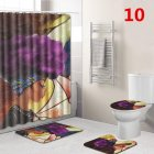 African Women Printing Toilet Pad Cover Bath Mat Shower Curtain SetFFWF