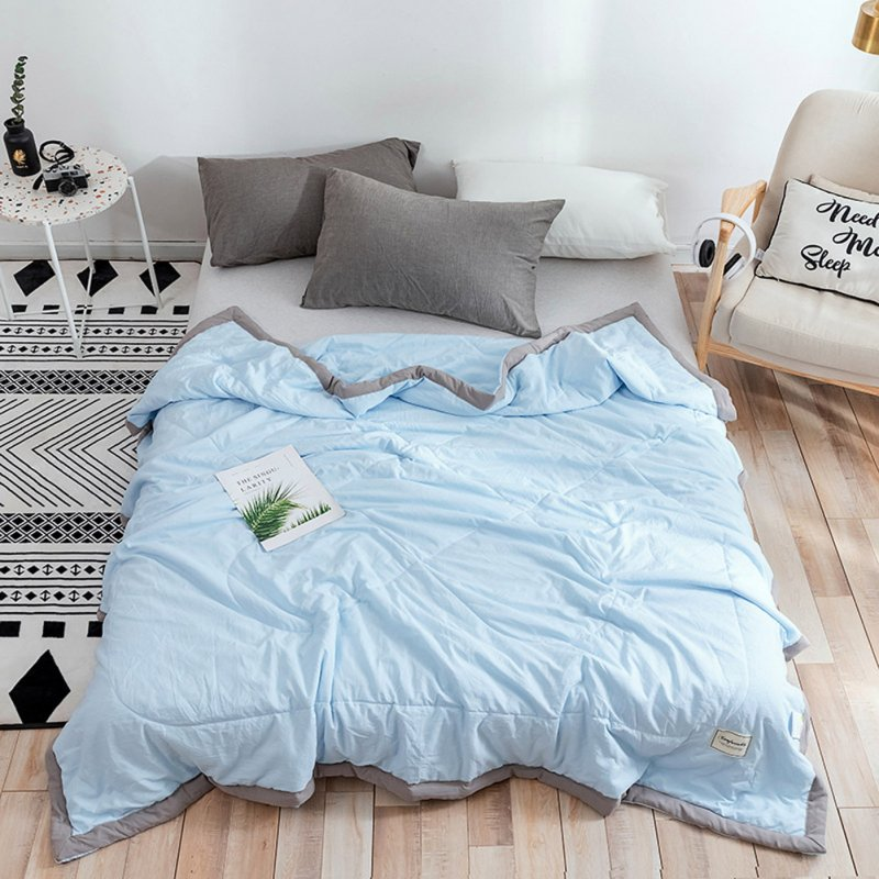 Air Condition Quilt Breathable Simple Summer Quilt for Home Beds Sleeping blue_150*200cm
