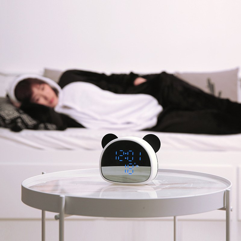 Alarm Clock Multi-Function Recorded Mirror Clock with Voice Control USB Night Light Panda Alarm Clock Black white