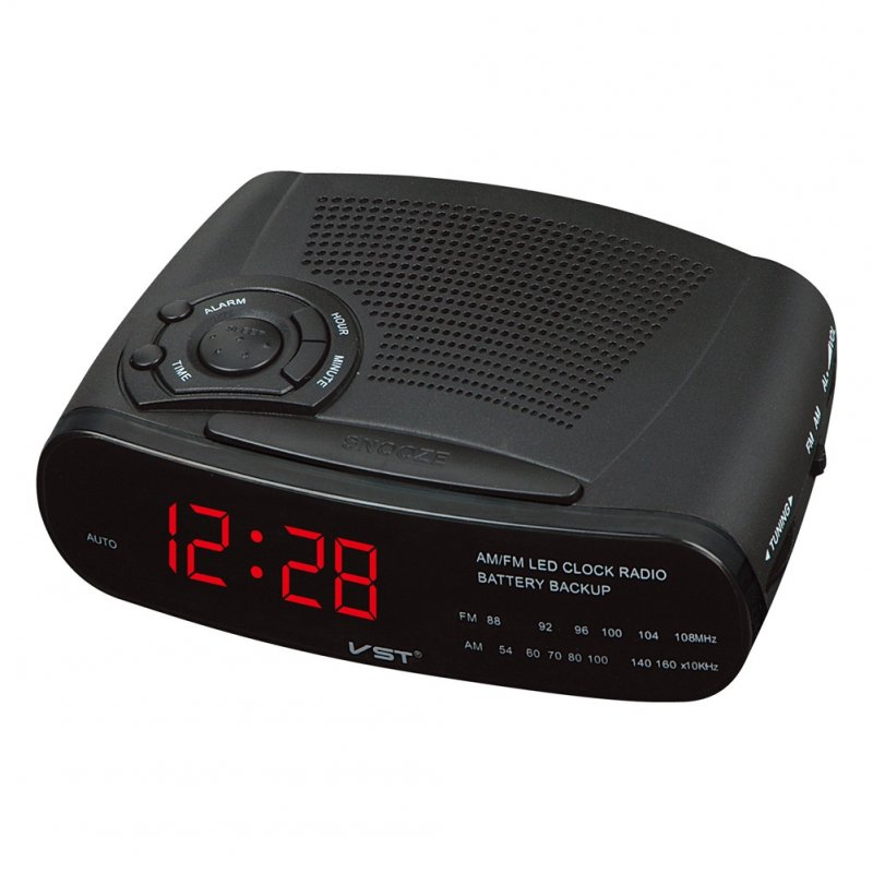 Alarm Clock Radio with AM/FM Digital LED Display with Snooze, Battery Backup Function red