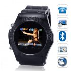 All black metal design mobile phone watch  Travel the world in style with this quadband cellphone watch  Provided with a Bluetooth earpiece and a free 1GB TF ca