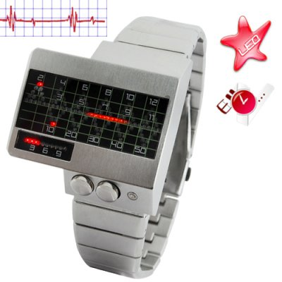 All Metal Red LED Watch