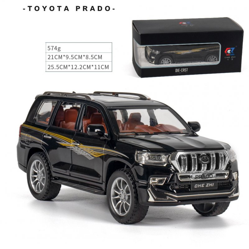 Alloy Car Model Toy for 1:24 prado Pull-back Cars Kid Toys For Children Gifts Boy cross country vehicle Toy black