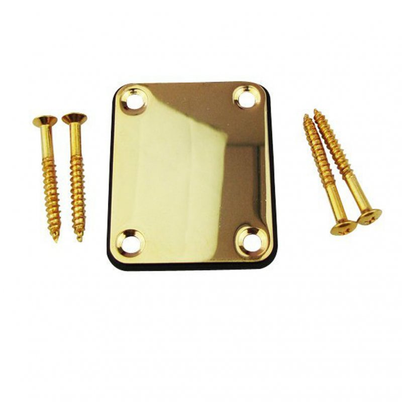 Alloy Neck Plate with 4 Screws Replacement Part for Electric Guitar Bass Gold