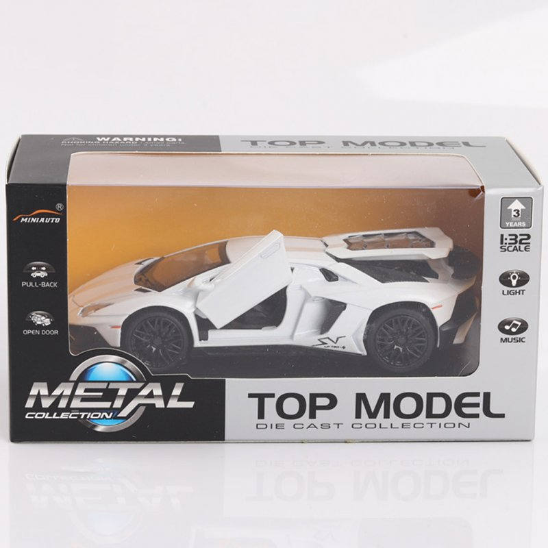 Alloy Racing Car Model with Light Sound 3 Open Doors Open Toy Gift for Kids white