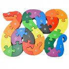 Alphanumeric Cognition Wooden Block Snake Puzzle Kids Educational Jigsaw Puzzle As shown
