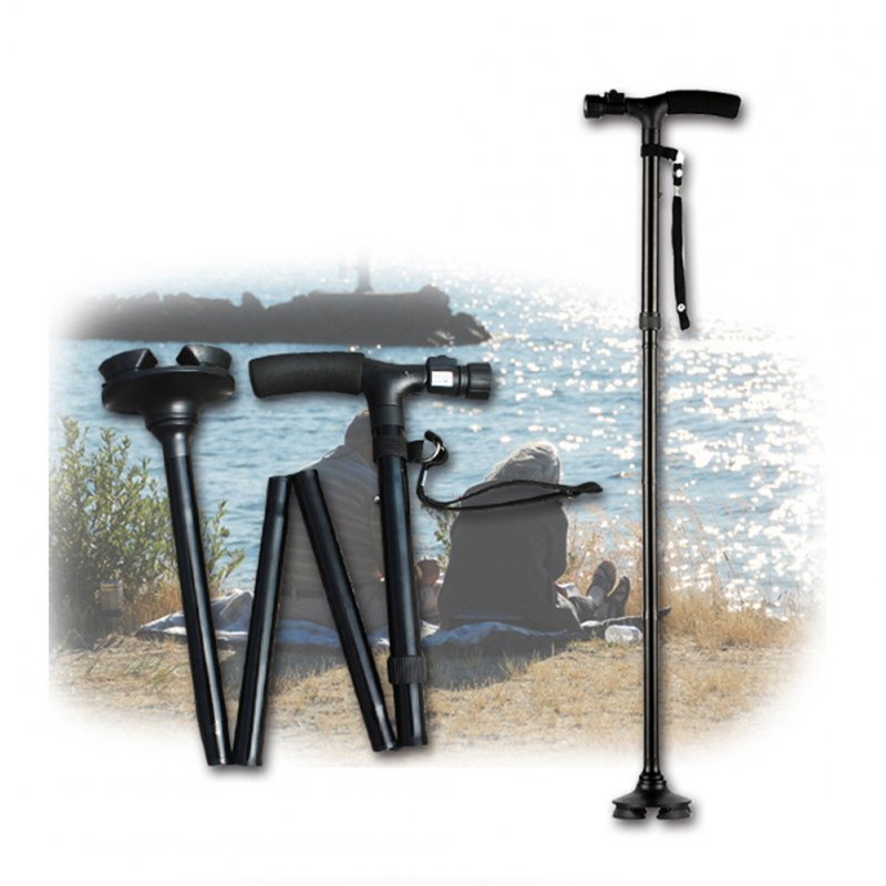 Aluminium Alloy Folding Walking Stick with LED Light Creative Old Man Hand Crutch Gift