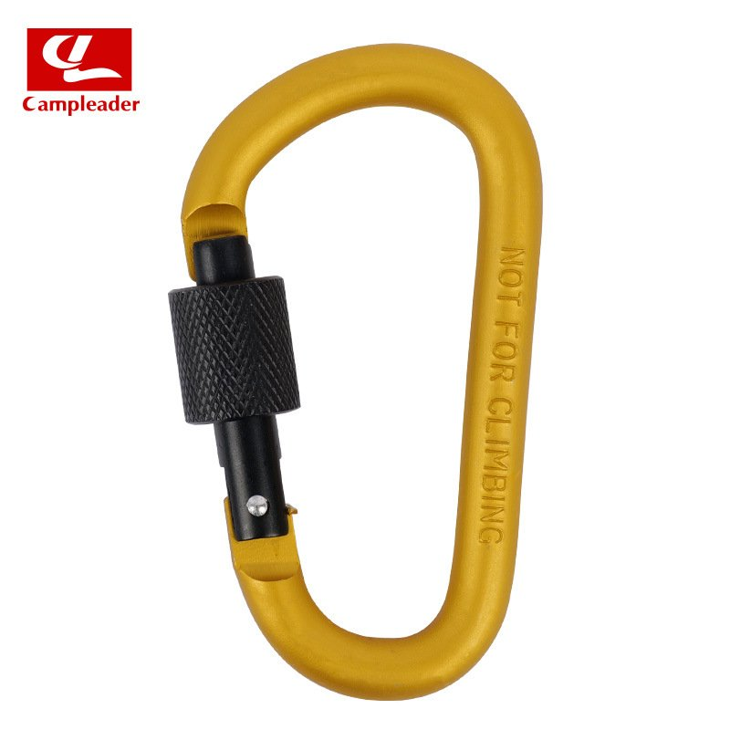 Aluminium Alloy Keychain Climbing Button Carabiner Safety Buckle Outdoor Camping Accessories Golden