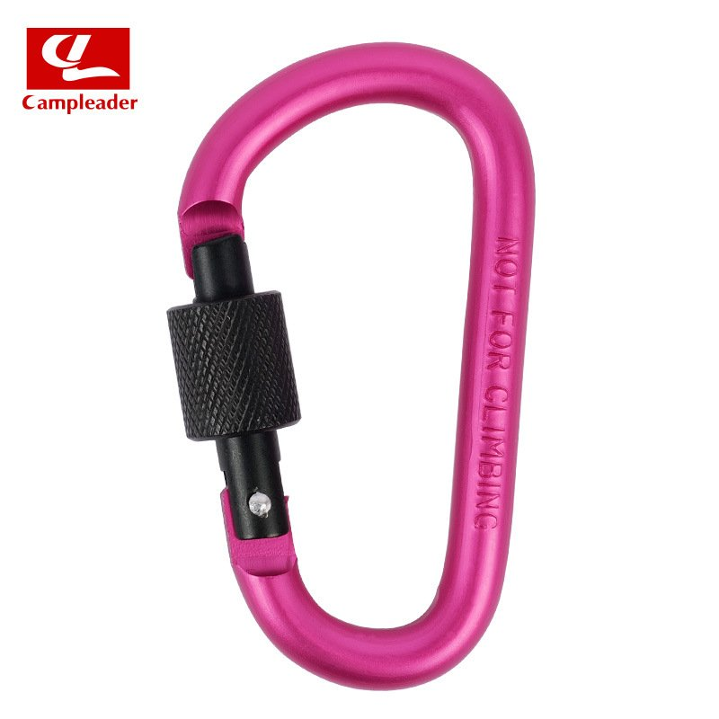 Aluminium Alloy Keychain Climbing Button Carabiner Safety Buckle Outdoor Camping Accessories rose Red