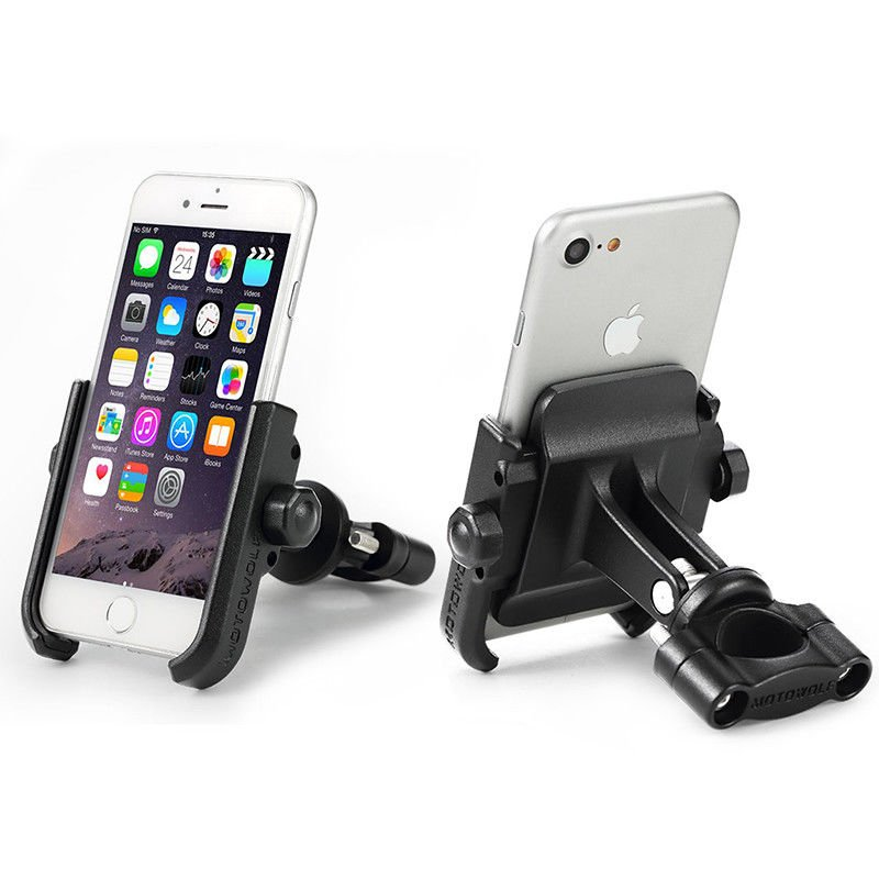 Aluminium Alloy Motorcycle Modified Phone Holder Cool Styling 360° Rotation Bracket black