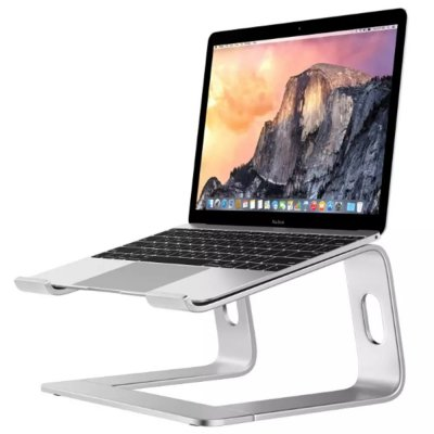 Aluminum Alloy Notebook Bracket Raise Computer Desktop Metal Base Heat Dissipation Anti-Skid Stand Silver