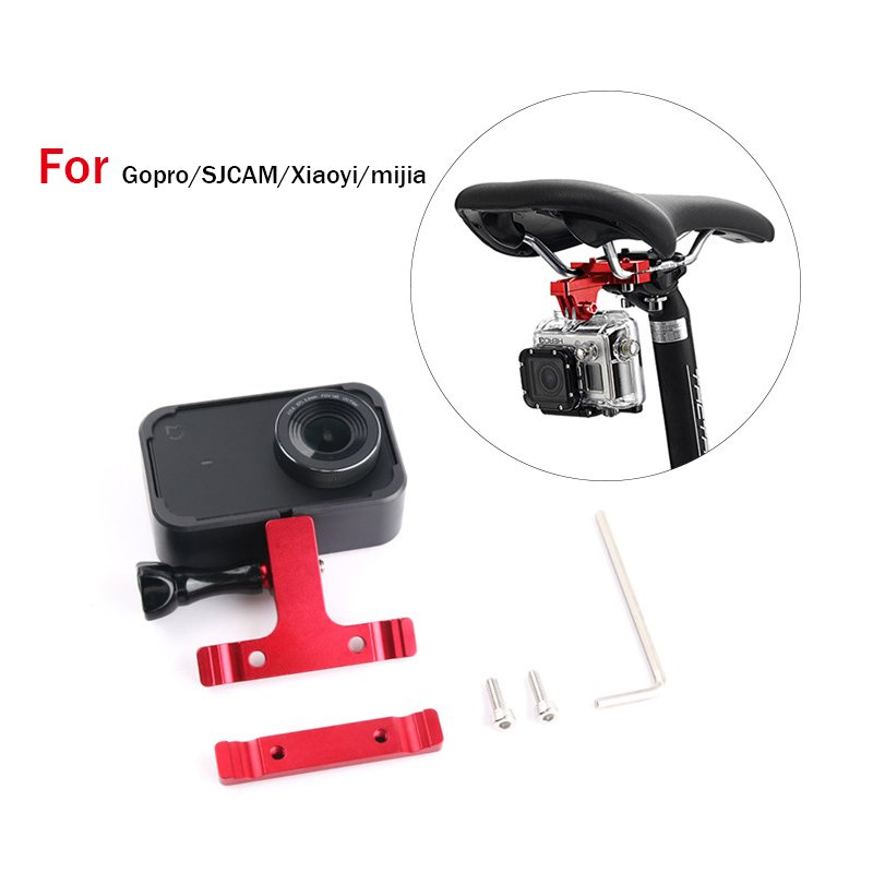Aluminum CNC Bike Bicycle Saddle Bike Seat Mount Monopod Tripod Holder Bracket Adapter Clamp for Gopro SJCAM Xiaoyi Mijia Camera black
