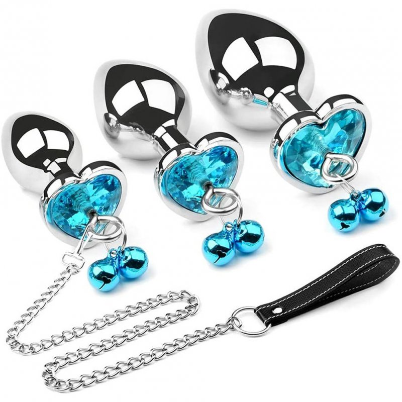 Anal Plug Set Metal Masturbation Sex Toy Men Buttplug Plug Hook with Bell and Crystal Heart Shaped Diamond L