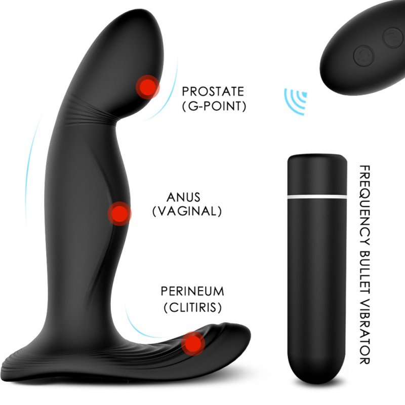 Anal Vibrator Prostate Massager with Finger Movement Technology 9 Vibration Modes Wireless Control black_Remote version