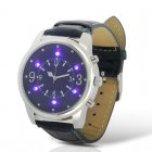 Analog wrist watch with a leather strap and LED purple lights for being able to inspection money for forgery is ideal for anyone looking for style and safety