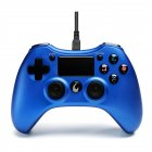 Android Double Vibration Game Hand Shank with Wire Compatible with PS3PS4PC Steel blue