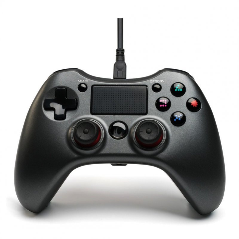 Android Double Vibration Game Hand Shank with Wire Compatible with PS3PS4PC Steel ash