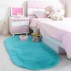 Anti-Slip Oval Shape Plush Carpet Mat for Living Room Tea Table Bedroom blue_60*90cm hair height 2.5cm