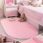 Anti-Slip Oval Shape Plush Carpet Mat for Living Room Tea Table Bedroom Pink_60*90cm hair height 2.5cm