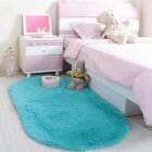Anti-Slip Oval Shape Plush Carpet Mat for Living Room Tea Table Bedroom blue_60*160cm hair height 2.5cm