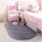 Anti-Slip Oval Shape Plush Carpet Mat for Living Room Tea Table Bedroom gray_60*160cm hair height 2.5cm