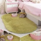 Anti-Slip Oval Shape Plush Carpet Mat for Living Room Tea Table Bedroom Grass green_60*90cm hair height 2.5cm