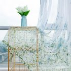 Anti-mosquito Window Curtain with Butterfly Branch Pattern Translucent Tulle for Living Room Balcony blue_W 100cm * H 200cm rod
