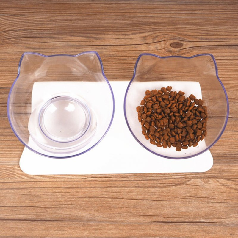 Antiskid Double Bowls with Raised Stand for Cats Dogs Drinking Feeding  white