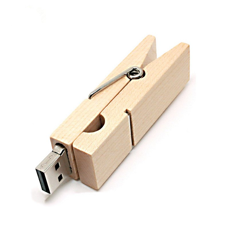 Ants Wooden Clip Shape Flash Drive USB Drive white_16G