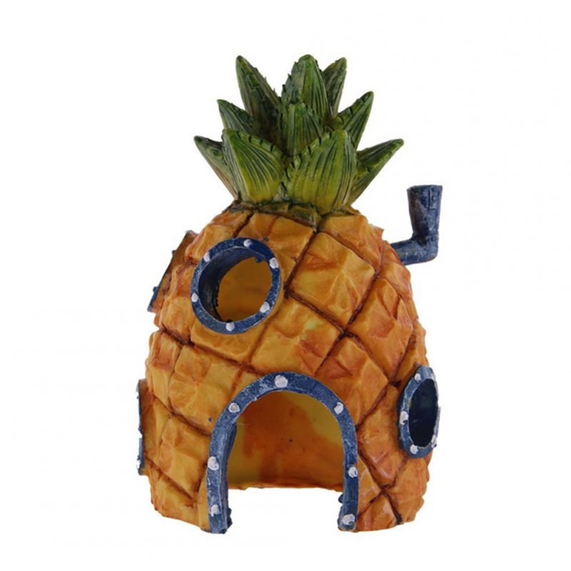Aquarium Decoration Cartoon Pineapple House Kids Gift Fish Tank Decor Simulation Resin Ornament Pineapple House