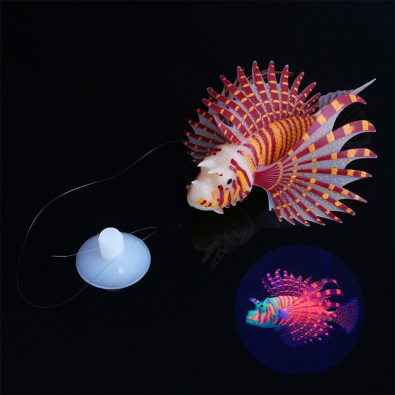 Aquarium Landscaping Aquarium Decoration Luminous Simulation Color Lionfish Silicone Material Fish Fishbowl Decoration brown